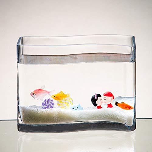 Jiangu serbatoio di pesce in vetro a forma di s, vaschetta per pesci rossi moda desktop, mini acquario, vaso di vetro idroponico
