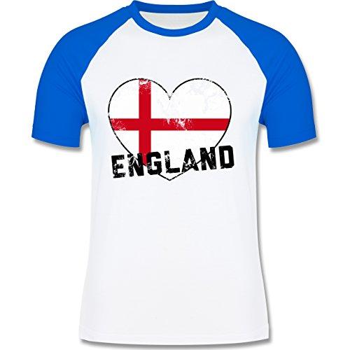 EM 2016 - Frankreich - England Herz Vintage - zweifarbiges Baseballshirt für Männer Weiß/Royalblau