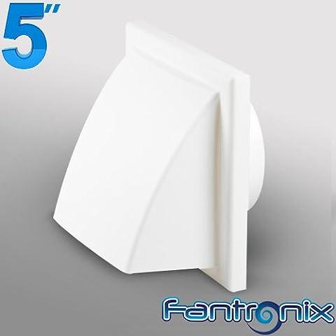 Fantronix - Rejilla de plástico con cubierta para salida de aire en conductos de ventilación de 125 mm de diámetro, redondeada, color blanco