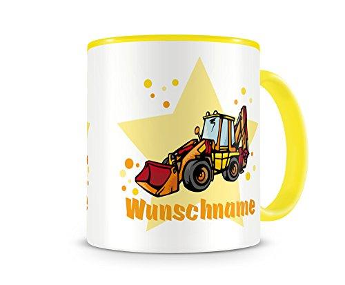 plot4u Kinder-Tasse mit Namen und einem Baggerlader Bagger Baustelle als Motiv Bild Kaffeetasse...