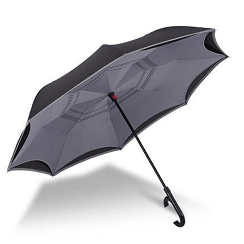 Liuyu · casa al Aire Libre Reverse Umbrella Automatic Bilayer Long Handle Large Duet Hombres y Mujeres Creativo Reflective Strip Diámetro 128 cm (Color : Gray)