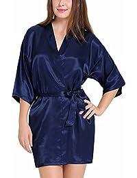 70695367a2 SLKS India Craft Women Satin Kimono Robe V-Neck Sexy Honeymoon Nightwear  Nightdress Sleepwear Short