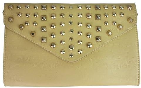 Girly Handbags New Studded Leather Clutch Bag Flat Envelope Gold Stud Envelope Designer Tribute
