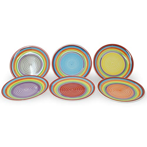 DRULINE 6er-Set Kuchenteller Porzellan Rot, Orange, Blau, Grau, Lila, Gelb 19 cm