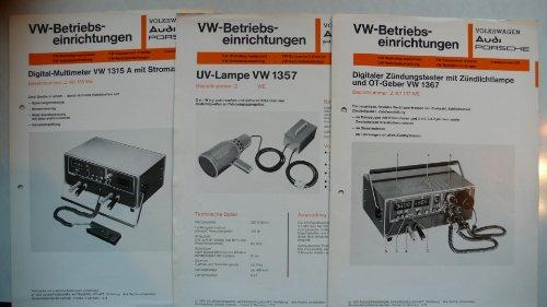 VW Audi Porsche: Betriebseinrichtungen – Digitaler Multimeter VW 1315A mit Stomzange, Digitaler Zündungstester mit Zündlichtlampe und OT-Geber VW 1367, UV-Lampe VW 1357