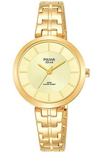 Pulsar Solar Montre Femme Analogique Solaire avec Bracelet Acier Inoxydable plaqué Or PY5062X1
