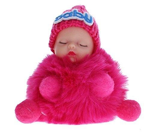Schlüsselanhänger Taschenanhänger Luxus Optik schlafende Baby Puppe mit Fell super süßer Pompom Bagcharm f Handtasche BBC (Pink)