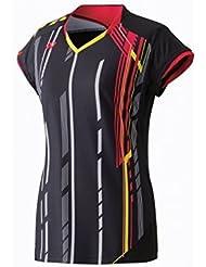 YONEX 20235EX Camiseta con Manga Casquillo de Señora, Negro, S