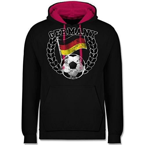 Fußball-WM 2018 - Russland - Germany Flagge & Fußball Vintage - Kontrast Hoodie Schwarz/Fuchsia