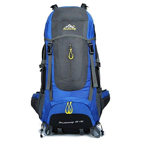 70 (65 + 5) L Mochila de senderismo Mochila de viaje impermeable Mochila de deporte al aire libre para escalada Mountaineering Camping Pesca Viajes Esquí de ciclismo (4 colores) (Azul)