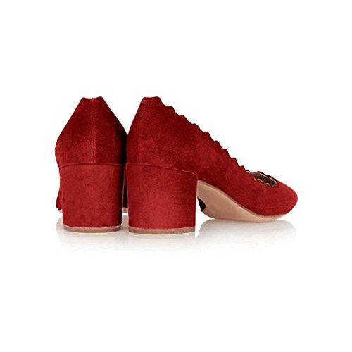 SHOFOO - Femmes - Escarpins - Cuir de daim synthétique - Plusieurs coloris - Talon bloc - Bout rond fermé Rouge