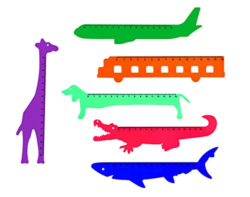 UNTOLD Cartoon Shaped Opaque Slim Scale Ruler for Kids, stationery School Item - 15cm (Combo Pack)