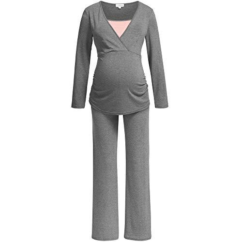 Herzmutter Stillpyjama-Schlafanzug-Umstandspyjama für Damen, extra weiche-softe Materialzusammensetzung, Lang-Langarm, Zweifarbiges Design, Blau-Grau-Rosa-Taupe-Rot (2700) (L, Dunkelgrau/Rosa)