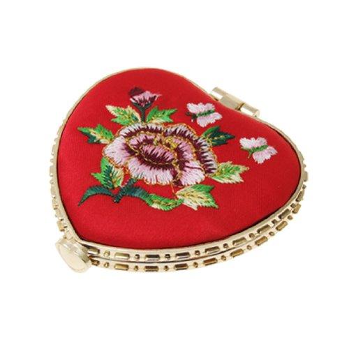 SODIAL(R) Mirroir portable piable de forme de coeur avec broderie Rouge