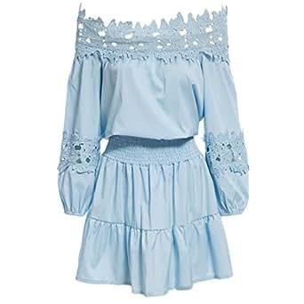 Vertvie Damen Sommer Kleid Elegant Schulterfrei Kleid ...