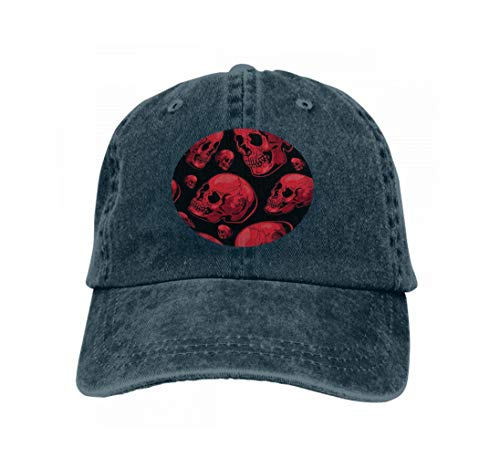 Hats Sun Hats Halloween Scary Seamless Background Skull Landscape Blue Navy ()