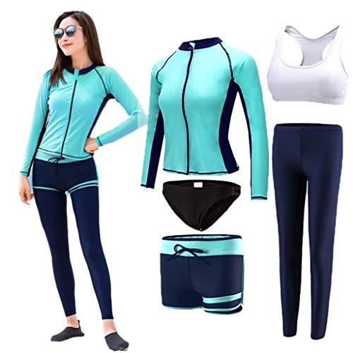 Wetsuits Sonnencreme Neoprenanzug Damen Tauchanzug 5-teiliges Set mit großen, langärmeligen, elastischen Reißverschluss Segelboot Kanu Schwimmen Surfbrett Blau MUMUJIN (Size : XXXL)