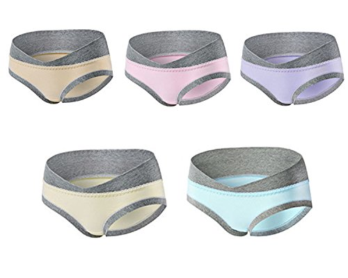 Annein 5er Pack Damen Umstandsmode Slip Schwangerschafts Baumwolle Unterwäsche Niedrig Taille U-förmige Unterhose Schlüpfer Panty für Unterhalb des Babybauchs (3, XL)