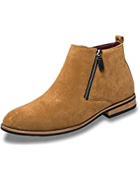 Botas de Invierno para Hombres Moda Punta de los Hombres Zapatos de Invierno Zip Tobillo Botas
