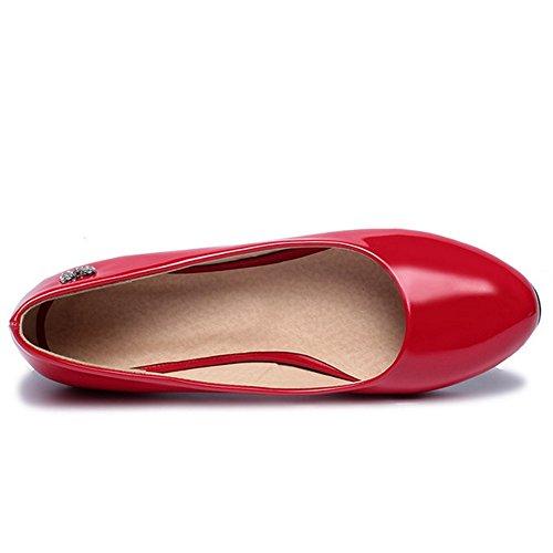 TAOFFEN Femme Classique Taille Peu Escarpins A Enfiler Chaussures Basse Rouge