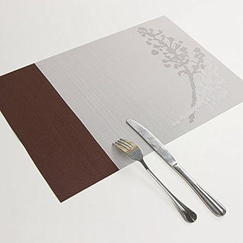 Yifom Rettangolare tavolo minimalista tappetino isolante in PVC pad Western pad 4,marrone (Pelle Marrone 4 Coaster)