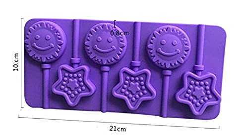 Infaye Silicone Hard Candy Lollipop Molds with Sticks DIY 3d Chocolate Fondant Mould for Cake Decorations (Sun & Star)