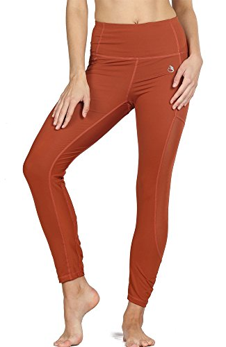icyzone Damen Sport Leggings Yoga Trainings Hohe Taille Sporthose Stretch Hose mit Tech Mesh (Persimmon, L) (Strumpfhose Hohe Control Taille)