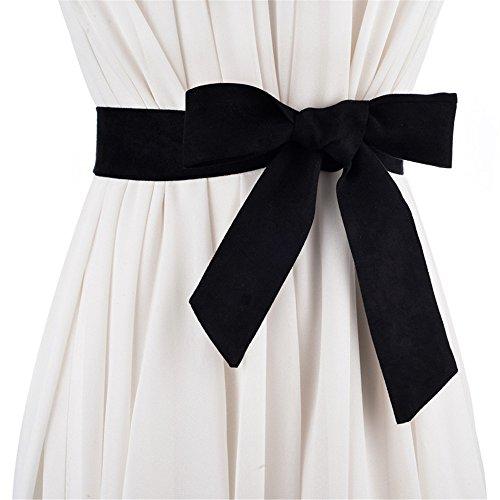 Frauen Haut und Leder Bänder mit Rock knüpfen weibliche Gürtel Tasche mit dekorativen Gürtel 170 cm * 4 cm, schwarz (Dekorative Leder-quaste)