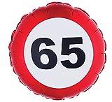 Party Palast - Party Dekoration Folienballon uni 65. Geburtstag 1 Stück, Mehrfarbig