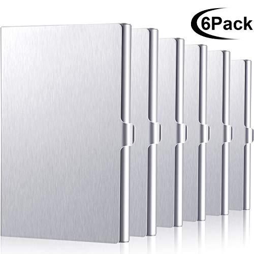 Estuche para tarjetas de visita de aluminio de 6 piezas, estuche para tarjetas de crédito para hombres y mujeres, plateado   Material de calidad:  Hecho de aluminio de calidad con la característica de anti-desvanecimiento, construcción sólida y cómo...