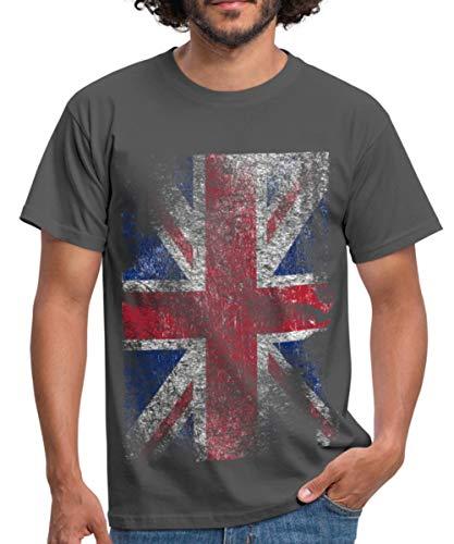 Spreadshirt Union Jack Used Look Männer T-Shirt, L, Graphite