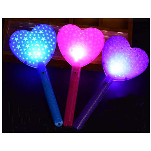 Black Temptation LED Light Up Zauberstab Fairy Heart Shape Glow Sticks für Kinder Spielzeug (4 Stück)