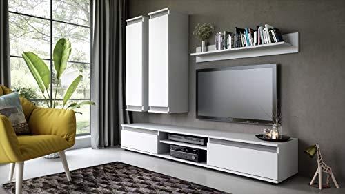 Wohnwand – Günstige Anbauwand in Weiß/Graphit kaufen  Bild 1*