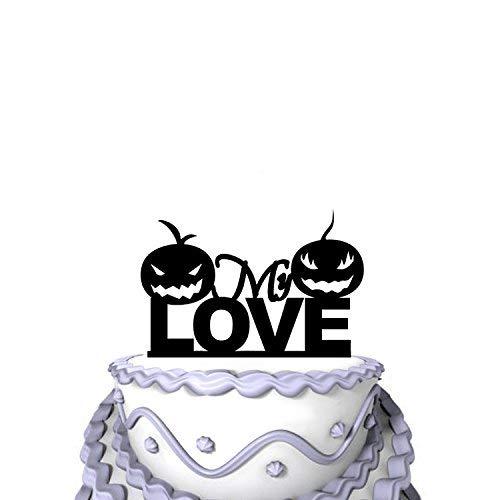 Tortenaufsatz für Hochzeiten, Acryl, Halloween-Design mit Kürbis-Gesicht, Silhouette