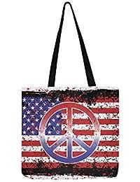 90b2798a16 Un' illustrazione di pace e la bandiera americana Sig tela Tote Handbag  Crossbody borse borse