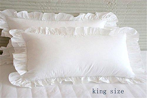 Meaning4 Überwurf Kissenbezüge mit Saum Rüschen Baumwolle weiß 45,7x 45,7cm Set von 2, White King Size, Kingsize