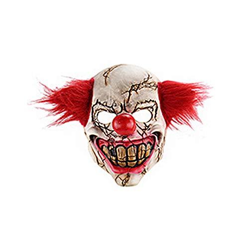x Maske Horror Blutiger Clown Latexmaske mit Haar Unisex Vollmaske Perfekt für Fasching Karneval Cosplay Partei-Kostüm-Abendkleid ()