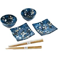 Japanese Cherry Blossom Sushi Plate, Rice Bowl & Wasabi Set with Chopsticks, Set for Two (Blue) by Blue Moon