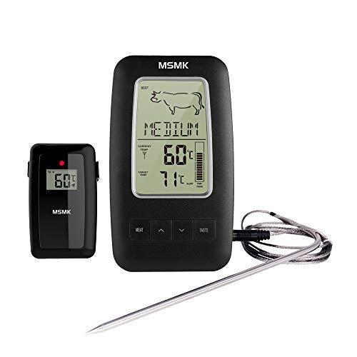 MSMK MK2245 Digitales Funk Grillthermometer mit Magnetischer Rückseite/Koch Lebensmittel Fleisch Thermometer/Edelstahl Temperaturfühler für Küche/Raucher/Grill BBQ (20 Bereich Backofen)