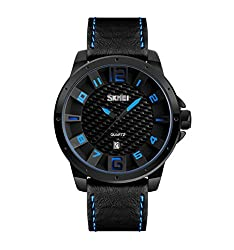 Skmei Elegant Design Analog Sports series Genuine Leather Watch -9150 Blue