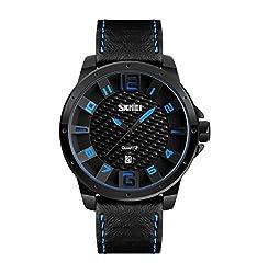 Skmei Elegant Design Analog Sports series Genuine Leather Watch -9150 Blue