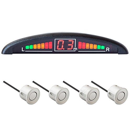 VSG R4S Einparkhilfe mit Farb-Display und eingebauten Pieper inklusiv 4 Sensoren in silber für vorne