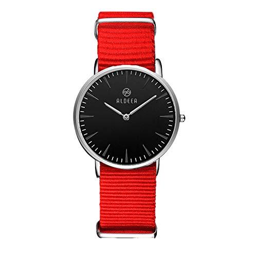 Aldeea Analoge Damen-Armbanduhr Quarzuhr mit Stoffarmband Damen Herren Unisex Uhr mit Wechselarmband Nylon-Armband Rot