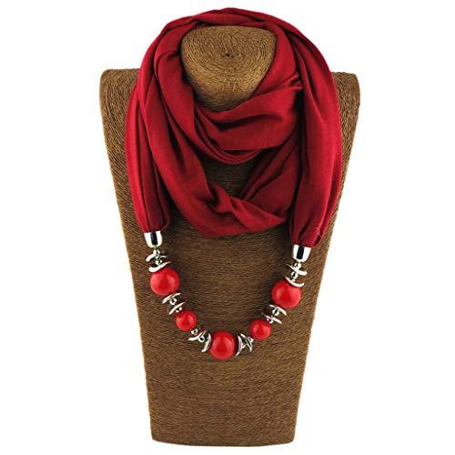 Cuigu Damen Schal Halsketten, Solid Color Schal Perlen Halstuch mit Schmuck (No.5)