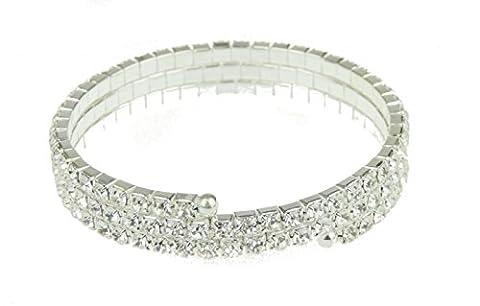 Femmes Strass Cristal Extensible Bracelet de mariage 1cm de large
