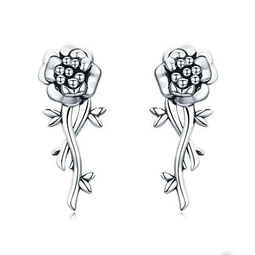 ShangB Ohrring 925 Silber Granatapfel Blume Romantische Liebe Ohrringe für Frauen Hochzeit Engagement S925 Schmuck Mädchen Zubehör Einzigartige Party -