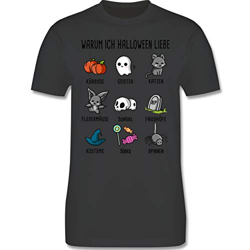 Halloween - Warum ich Halloween Liebe - XL - Dunkelgrau - L190 - Herren T-Shirt Rundhals