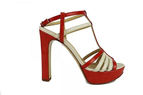 TWIN-SET 38 EU sandali donna bianco pelle arancione vernice AH640
