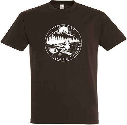 Herren T-Shirt I Hate People S bis 5XL (Dunkelbraun, 5XL)