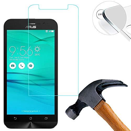 Lusee® 2 X Pack Panzerglasfolie Tempered Glass Hartglas Schutzfolie für Asus Zenfone GO ZB500KL / ZB500KG 5.0 Zoll Premium Screen Folie Protector Ultra Hart Bildschirmschutz 0,3mm 9H Clear 2.5D